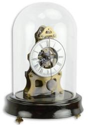 Casa Padrino Jugendstil Tischuhr mit Glasglocke Schwarz / Messingfarben Ø 13 x H. 18,7 cm - Dekorative Schreibtischuhr - Deko Accessoires