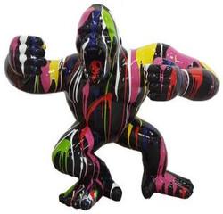 Casa Padrino Designer Deko Skulptur Gorilla Affe Schwarz / Mehrfarbig 80 x 40 x H. 70 cm - Wetterbeständige Dekofigur