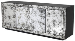 Casa Padrino luxury sideboard anthracite gray / antique mirror glass 200 x 49.5 x H. 79 cm - Solid wood cabinet with 4 mirrored doors - Luxury Quality