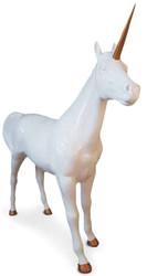 Casa Padrino Luxus Dekofigur Einhorn Pferd Weiß / Kupferfarben 245 x 56 x H. 220 cm - Lebensgroße Dekofigur - Riesige Tierfigur - Gartendeko Skulptur