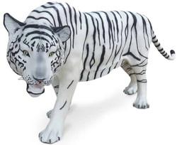 Casa Padrino Luxus Dekofigur Weißer Tiger Weiß / Schwarz 250 x 55 x H. 90 cm - Lebensgroße Dekofigur - Riesige Tierfigur - Gartendeko Skulptur
