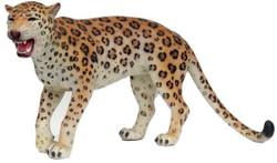 Casa Padrino Dekofigur Leopard Orange / Creme / Schwarz 155 x H. 75 cm - Lebensgroße Wetterbeständige Deko Skulptur - Gartendeko
