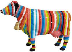 Casa Padrino Designer Dekofigur Kuh mit Streifen Bunt 104 x H. 67 cm - Deko Skulptur - Wetterbeständige Tierfigur