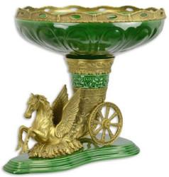 Casa Padrino Barock Blumenschale Grün / Messing 49,2 x 41 x H. 40,8 cm - Prunkvolle Porzellan Pflanzenschale mit elegantem Bronze Pegasus Pferd - Deko Accessoires im Barockstil