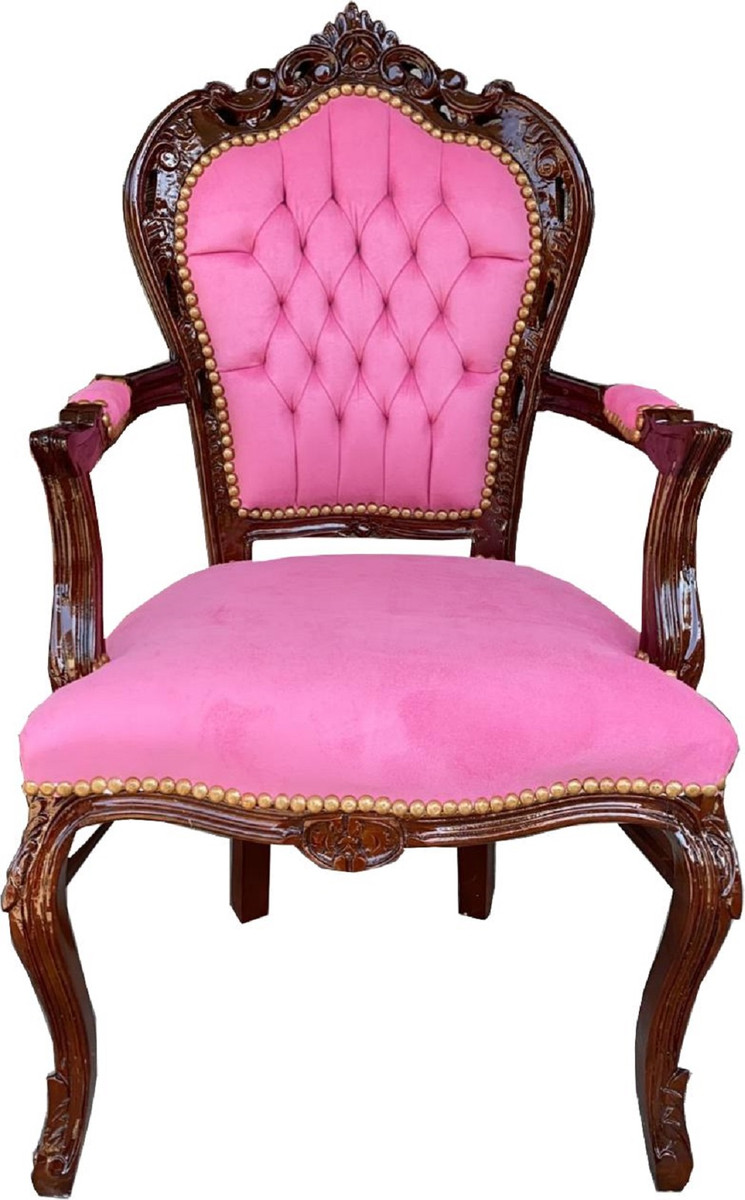 Casa Padrino Barock Esszimmerstuhl mit Armlehnen Rosa Braun 53 x 57 x H. 108 cm Handgefertigter Antik Stil Massivholz Stuhl mit edlem Samtstoff