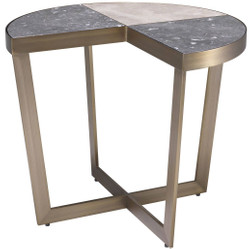 Casa Padrino luxury stainless steel side table with marble table top gray / beige / brass Ø 60 x H. 50.5 cm - Luxury Furniture