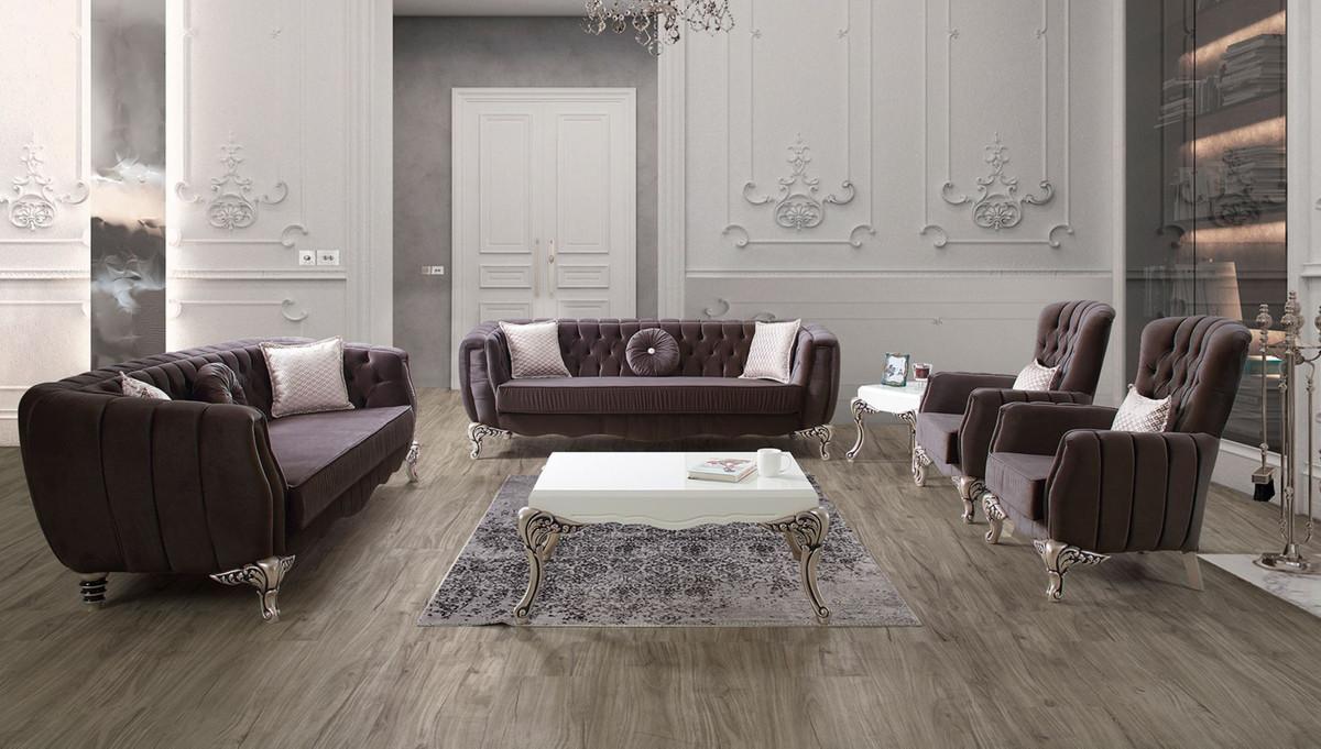 Casa Padrino Luxus Barock Wohnzimmer Set Lila / Silber - 100 Sofas & 100 Sessel  & 10 Couchtisch - Elegante Wohnzimmer Möbel im Barockstil