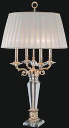 Casa Padrino Luxus Barock Kristallglas Tischleuchte Gold / Weiß Ø 55 x H. 100 cm - Hotel & Restaurant Deko Accessoires - Edel & Prunkvoll