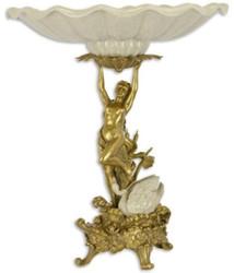 Casa Padrino Barock Porzellan Obstschale mit dekorativer Bronzefigur Creme / Gold Ø 44,6 x H. 53 cm - Barock Deko Accessoires