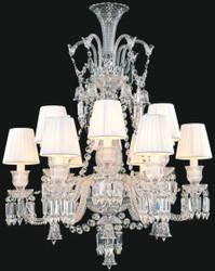 Casa Padrino Luxury Baroque Crystal Glass Chandelier Silver / White Ø 80 x H. 100 cm - Hotel & Restaurant Chandelier - Noble & Magnificent