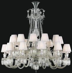 Casa Padrino Luxury Baroque Crystal Glass Chandelier Silver / White Ø 110 x H. 120 cm - Hotel & Restaurant Chandelier - Noble & Magnificent