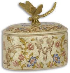 Casa Padrino baroque jewelry box cream / multicolor / gold 12.3 x 8.5 x H. 11.8 cm - Porcelain storage box with flower design and bronze dragonfly handle - Baroque decoration accessories