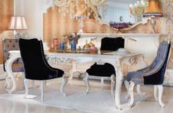 Casa Padrino Luxus Barock Esszimmer Set Blau / Weiß / Gold - 1 Esstisch & 6 Esszimmerstühle - Prunkvolle Esszimmermöbel im Barockstil - Luxus Qualität