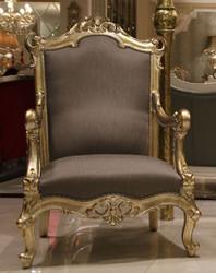 Casa Padrino Luxus Barock Sessel Grau / Gold 80 x 70 x H. 125 cm - Prunkvoller Massivholz Wohnzimmer Sessel - Barock Wohnzimmer Möbel