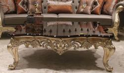 Casa Padrino Luxus Barock Couchtisch Dunkelbraun / Gold 145 x 145 x H. 45 cm - Prunkvoller Massivholz Wohnzimmertisch mit edlen Verzierungen - Barock Wohnzimmer Möbel