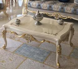 Casa Padrino Luxus Barock Couchtisch Weiß / Gold 118 x 87 x H. 50 cm - Massivholz Wohnzimmertisch - Möbel im Barockstil