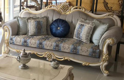 Casa Padrino luxury baroque sofa gray / blue / white / gold 222 x 82 x H. 120 cm - Magnificent solid wood living room sofa with elegant pattern and decorative pillows - Baroque living room furniture