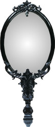 Casa Padrino baroque wall mirror in hand mirror design black 91 x 4 x H. 210 cm - Wardrobe mirror - Living room mirror - Bedroom mirror - Baroque furniture