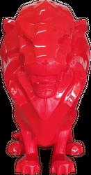Casa Padrino Luxus Dekofigur Löwe Rot 90 x 80 x H. 170 cm - Riesige Wetterbeständige Deko Skulptur - Wohnzimmer Deko - Gartendeko Tierfigur