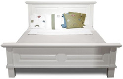 Casa Padrino country style double bed white 200 x 200 x H. 110 cm - Solid wood bed - Country style bedroom furniture