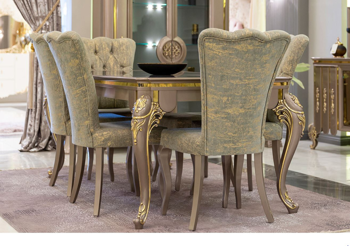 Cucina Letters Kitchen Decor, Casa Padrino Luxury Baroque Dining Room Set Green Gold Gray 1 Dining Table 6 Dining Chairs Magnificent Dining Room Furniture In Baroque Style Luxury Quality