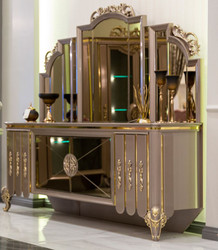 Casa Padrino luxury baroque furniture set sideboard with mirror black / gray / gold 214 x 88 x H. 192 cm - Magnificent solid wood cabinet with elegant wall mirror - Furniture in baroque style