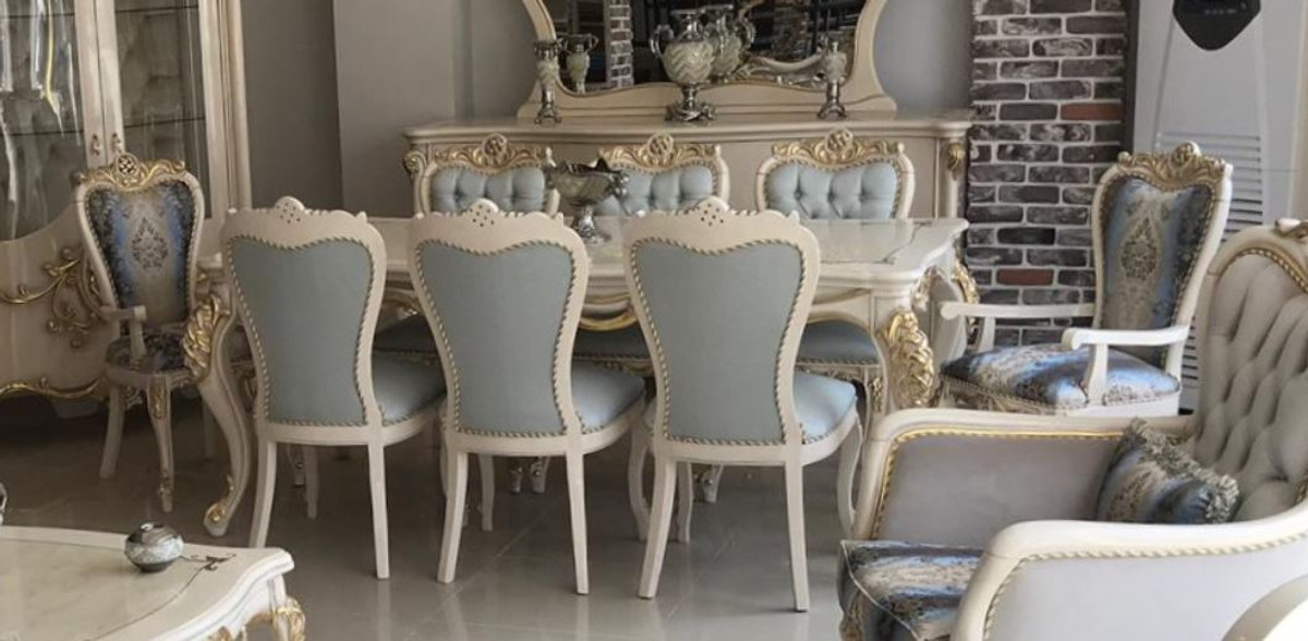Casa Padrino Luxury Baroque Dining Room Set Light Blue Dark Blue White Gold 1 Dining Table 8 Dining Chairs Magnificent Dining Room Furniture In Baroque Style Luxury Quality