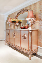 Casa Padrino luxury baroque furniture set sideboard with mirror copper - Magnificent solid wood cabinet with elegant wall mirror - Furniture in baroque style