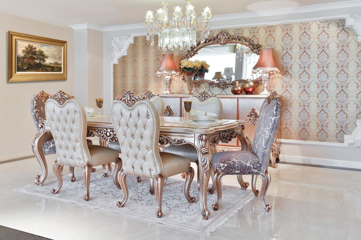 Casa Padrino Luxus Barock Esszimmer Set 1 Esstisch Mit Glasplatte 6 Esszimmerstuhle Esszimmermobel Im Barockstil Edel Prunkvoll
