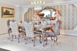 Casa Padrino Luxus Barock Esszimmer Set - 1 Esstisch mit Glasplatte & 6 Esszimmerstühle - Esszimmermöbel im Barockstil - Edel & Prunkvoll