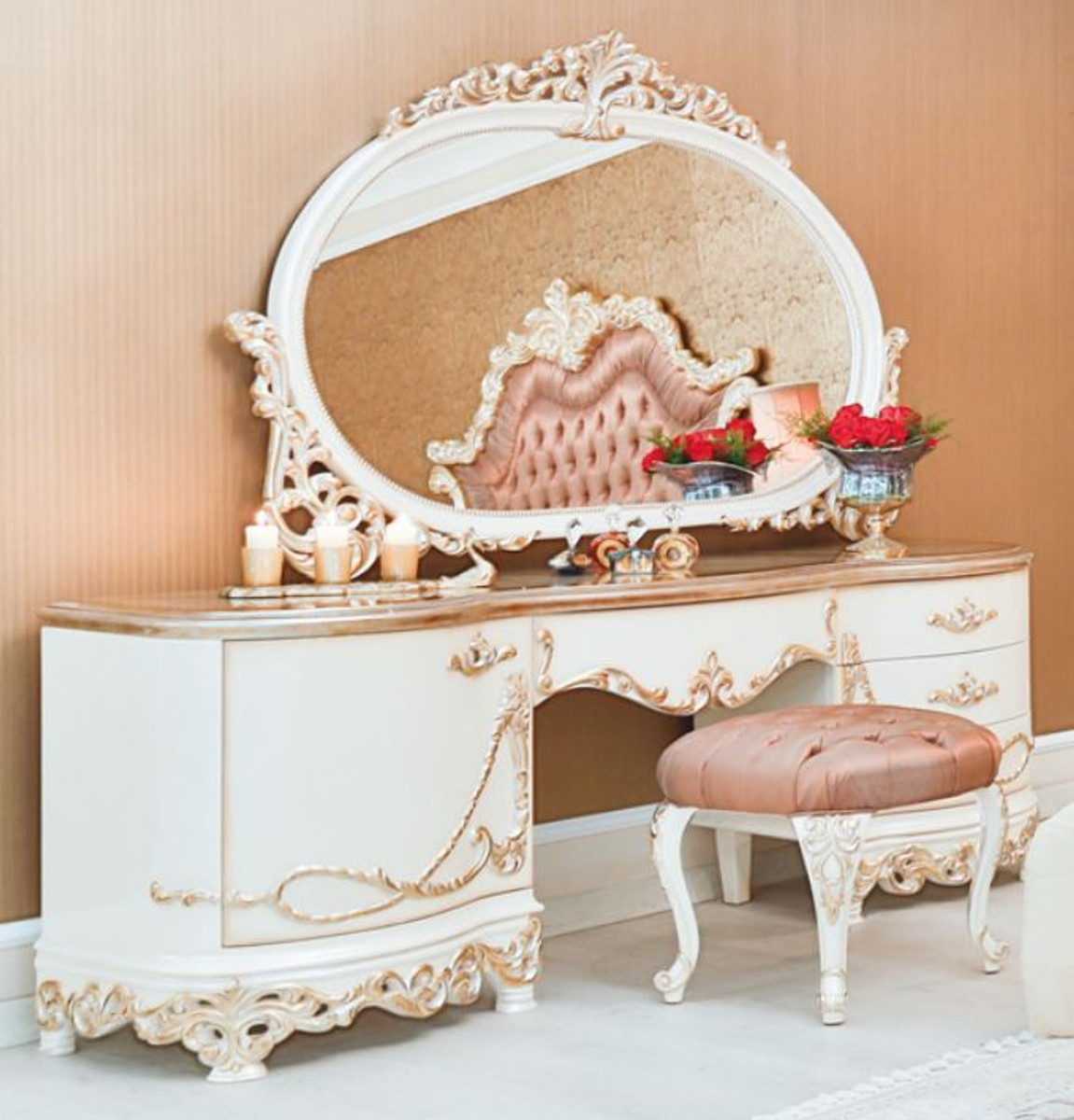 Casa Padrino Set Di Camera Da Letto In Stile Barocco Di Lusso Rosa Bianco Crema Rame