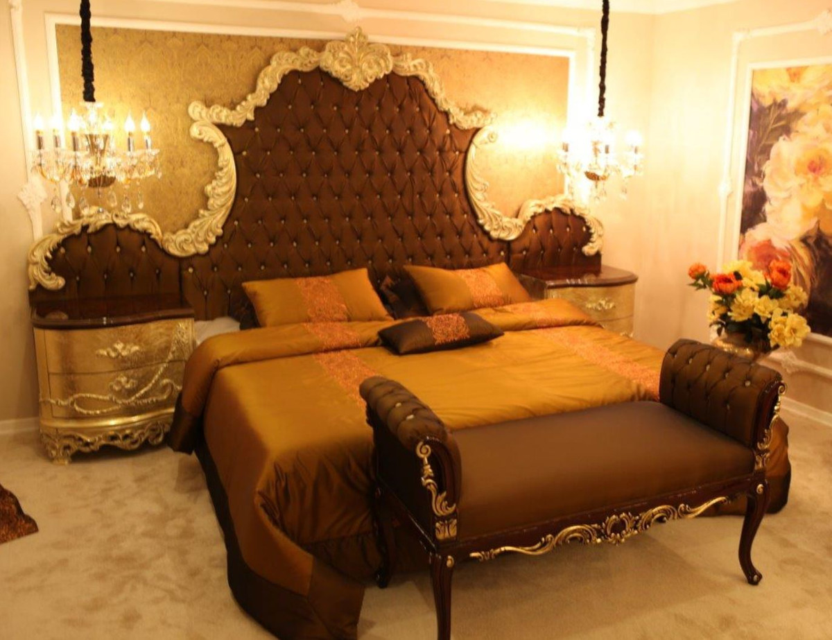 Casa Padrino Luxury Baroque Bedroom Set Brown Cream Gold 1 Double Bed With Headboard 2 Bedside Tables 1 Bench Baroque Bedroom Furniture Noble Magnificent