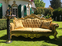 Pompöös by Casa Padrino luxury baroque sofa gold bouquet pattern / gold - Pompööses baroque sofa designed by Harald Glööckler
