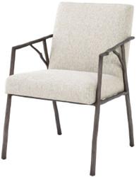 Casa Padrino Luxus Esszimmerstuhl Naturfarben / Bronze 56 x 61 x H. 83 cm - Edler Küchenstuhl mit Armlehnen - Luxus Esszimmer Möbel