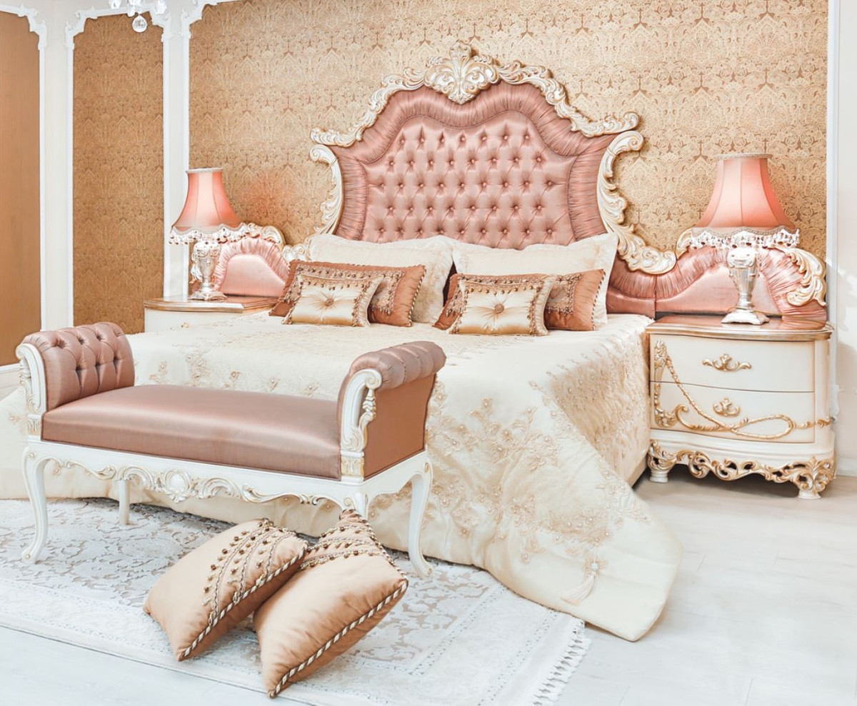 Casa Padrino Luxury Baroque Double Bed Pink White Cream Copper 200 X 200 X H 200 Cm Noble Solid Wood Bed With Headboard Magnificent Bedroom Furniture In Baroque Style
