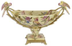 Casa Padrino Jugendstil Porzellan Schüssel mit Blumen Design und Papageien Griffen Mehrfarbig / Messingfarben 53,4 x 21,3 x H. 32,3 cm - Deko Accessoires