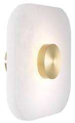 Casa Padrino Luxus LED Wandleuchte Alabaster / Hell Messingfarben 28 x 10 x H. 28 cm - Dimmbare Wandlampe mit quadratischem Alabaster Lampenschirm - Luxus Kollektion