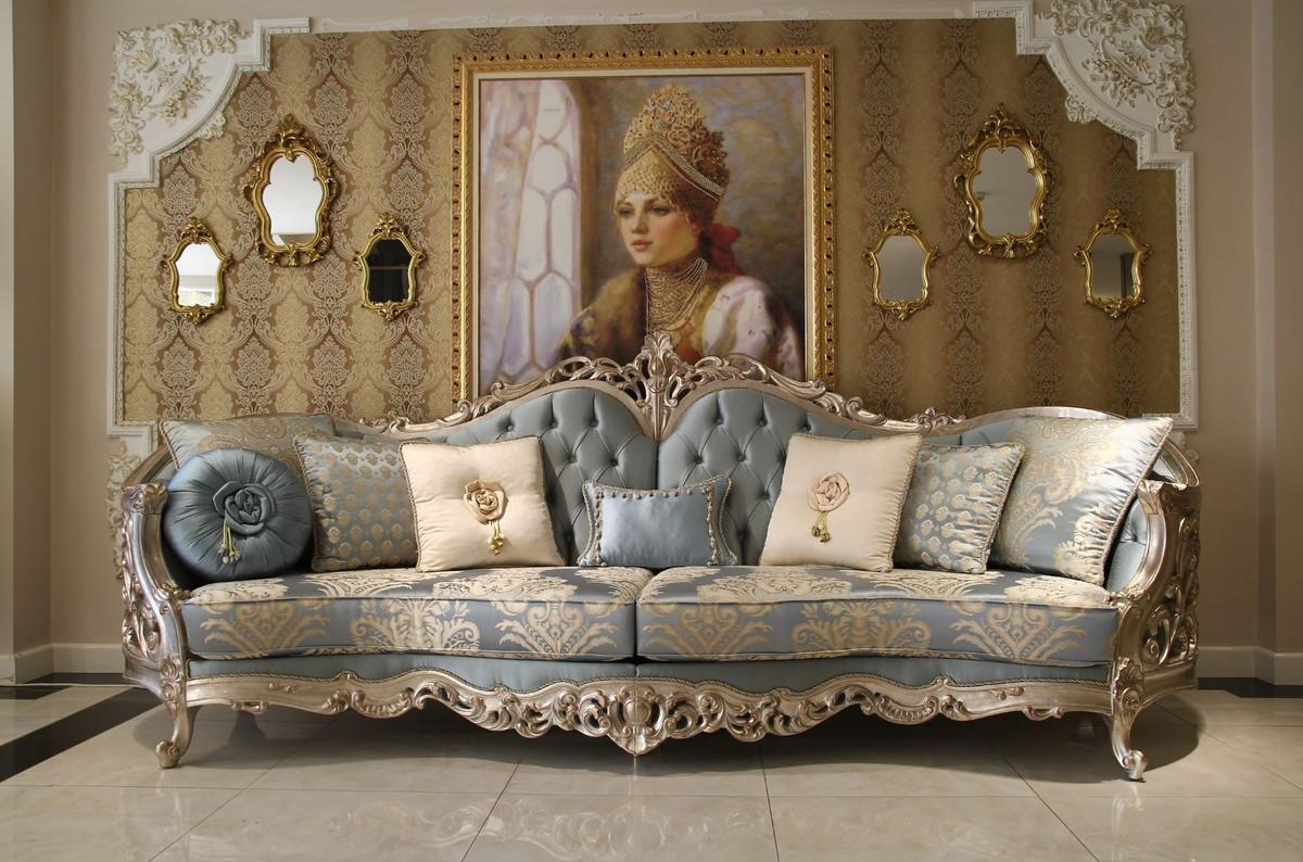 Casa Padrino Luxus Barock Wohnzimmer Sofa Hellblau Beige Silber 295 X 95 X H 115 Cm Prunkvolles Sofa Im Barockstil Edle Barock Wohnzimmer Mobel