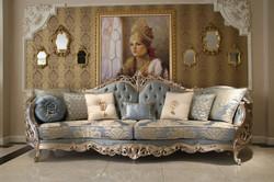 Casa Padrino luxury baroque living room sofa light blue / beige / silver 295 x 95 x H. 115 cm - Magnificent sofa in baroque style - Noble baroque living room furniture