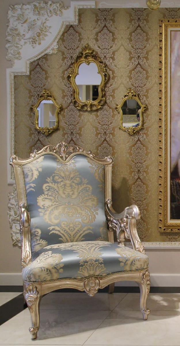 Casa Padrino Luxus Barock Sessel Hellblau Beige Silber 80 X 77 X H 115 Cm Prunkvoller Wohnzimmer Sessel Mit Edlem Muster Barock Wohnzimmer Mobel Ceres Webshop