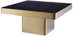 Casa Padrino luxury coffee table black / brass 81 x 81 x H. 38.5 cm - Square stainless steel living room table with ceramic top - Living room furniture - Luxury Furniture