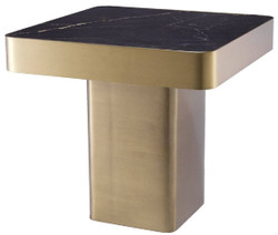Casa Padrino luxury side table black / brass 50 x 50 x H. 47.5 cm - Square stainless steel table with ceramic top - Living room furniture - Luxury Furniture