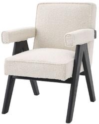 Casa Padrino Luxus Esszimmerstuhl Creme / Schwarz 63 x 70 x H. 87,5 cm - Edler Küchenstuhl mit Armlehnen - Luxus Esszimmer Möbel