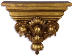 Casa Padrino baroque resin wall console antique gold 33.3 x 9.5 x H. 28.5 cm - Wall Decoration in Baroque Style