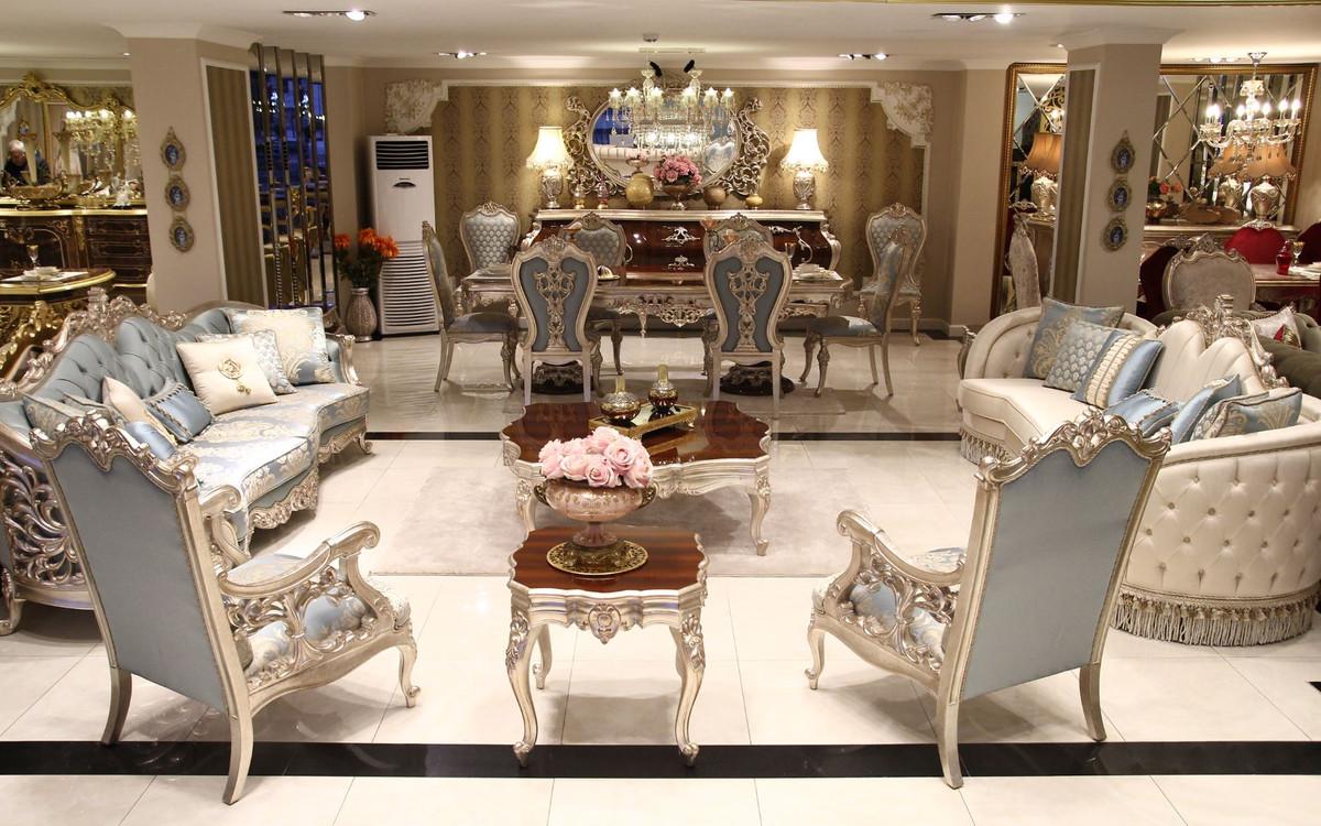 Casa Padrino Luxus Barock Wohnzimmer Sofa Beige Silber 300 X 95 X H 115 Cm Prunkvolles Sofa Im Barockstil Edle Barock Wohnzimmer Mobel