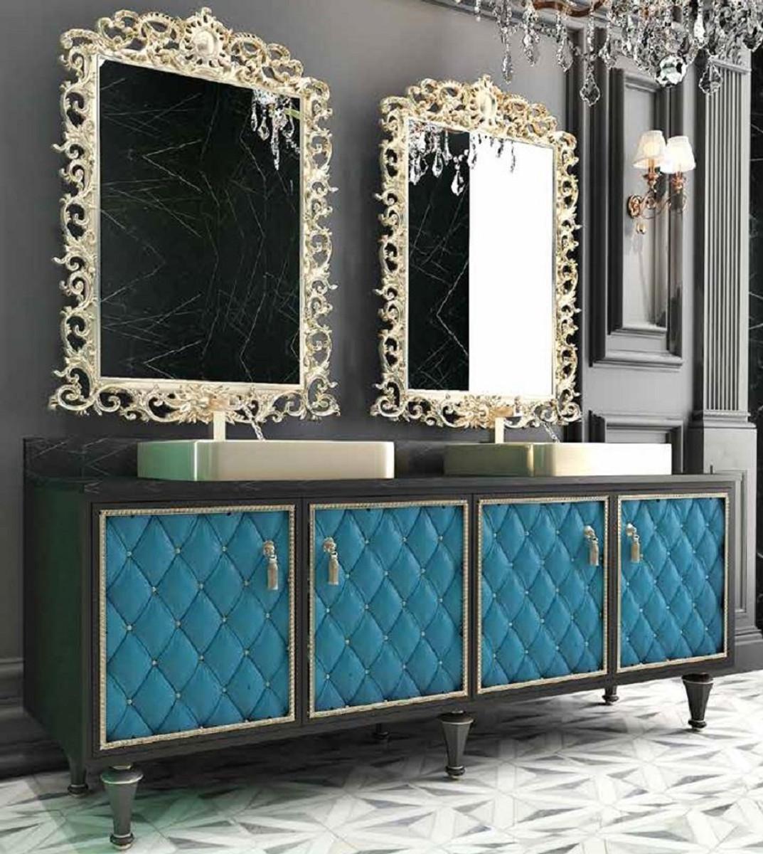 Casa Padrino Luxus Barock Badezimmer Set Schwarz / Blau / Gold - 1112  Waschtisch mit 1112 Türen und 112 Waschbecken und 112 Wandspiegel - Prunkvolle