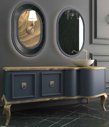 Casa Padrino Luxury Baroque Bathroom Set Natural / Blue - 1 Vanity Unit with 2 Doors and 1 Washbasin and 2 Wall Mirrors - Sumptuous Bathroom Furniture