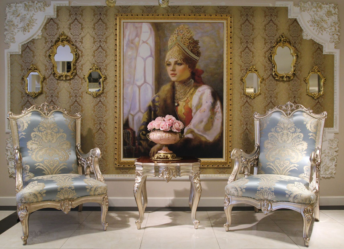 Casa Padrino Luxus Barock Wohnzimmer Set 2 Sofas Amp 2 Sessel Amp 1 Couchtisch Amp 2 Beistelltische Wohnzimmer Mobel Im Barockstil Edel Amp Prunkvoll Ceres Webshop