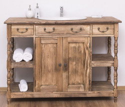 Casa Padrino country style vanity unit brown 128 x 54 x H. 91 cm - Solid wood sink cabinet - Country style bathroom furniture