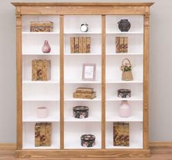 Casa Padrino Landhausstil Regalschrank Hellbraun / Weiß 180 x 39 x H. 197 cm - Massivholz Schrank - Bücherschrank - Wohnzimmerschrank - Büroschrank - Landhausstil Möbel